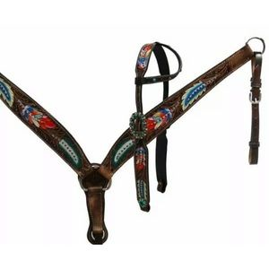 Painted Feather 1 Ear Bridle and Breastcollar set